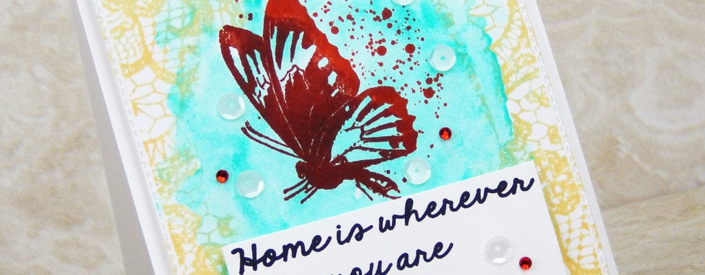 Background watercolor card with stamping.