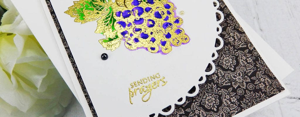 Offset card panel + Zig watercolor & embossed grapes ~ tutorial